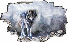 Adesivo murale 3D,lupo,decorazione murale per