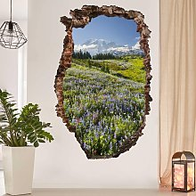 Adesivo murale 3D - Mountain Meadow With Flowers