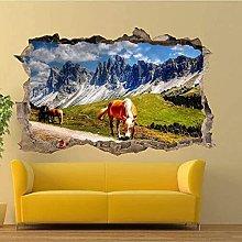Adesivo murale 3D Primavera Montagne Cavalli S Art