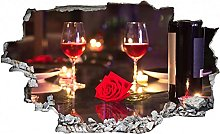 Adesivo murale 3D,Romantico della cena del vino