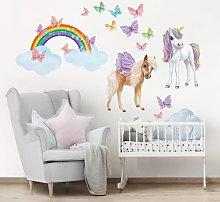 Adesivo murale 3D - Set Unicorni E Farfalle