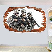 Adesivo murale 3D Soldati Esercito Militare S