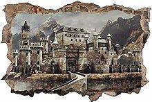 Adesivo murale 3D,Vecchio castello,decorazione