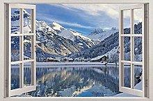 Adesivo murale 3D Villaggio in montagna Vista