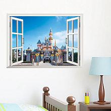 Adesivo murale 3D Wall Castle Landscape Window