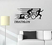 Adesivo murale Atleta Triathlon Nuoto Ciclismo
