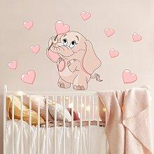 Adesivo murale bambini - Baby elefantino rosa con