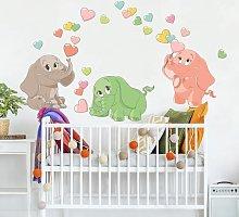 Adesivo murale bambini - Elefantini arcobaleno con