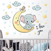 Adesivo murale bambini - Elefantino sulla luna I