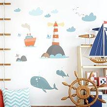 Adesivo murale bambini - Faro e balenottere -