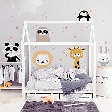 Adesivo murale bambini - Set animaletti safari -
