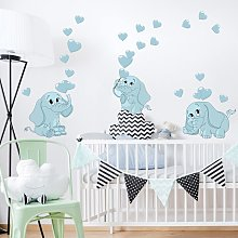 Adesivo murale bambini - Tre elefantini blu con