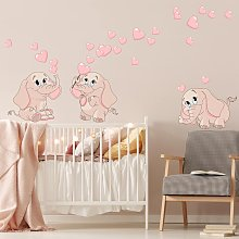 Adesivo murale bambini - Tre elefantini rosa con