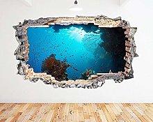 Adesivo murale Barriera corallina Ocean Fish Blue
