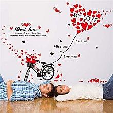 Adesivo Murale Bicicletta Romantica Amore Rosso