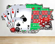 Adesivo murale Boy Poker Chips Gioco Smash Decal
