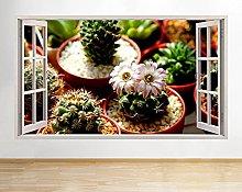 Adesivo murale Cactus Flower Potted Hall Window