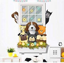 Adesivo Murale Cartoon Simpatici Cani Fiori