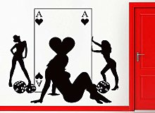 Adesivo Murale Casinò Poker Girl Ladies Living