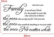 Adesivo murale citazione rimovibile per famiglie