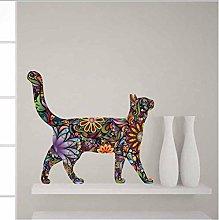 Adesivo Murale Colorato A Forma Di Gatto Vibrante