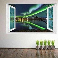Adesivo murale con aurora boreale e vista sulla