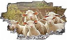 Adesivo murale con pecore al pascolo- Adesivo da