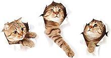 Adesivo murale con tre gatti Vista foro Bagno