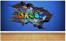 Adesivo murale da parete multicolore con nome
