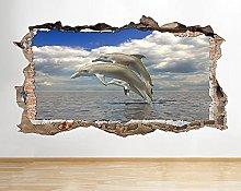 Adesivo murale Dolphin Sea Ocean Bagno Animal