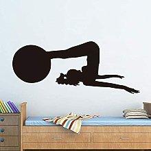 Adesivo murale donna con palla fitness esercizio