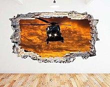 Adesivo murale elicottero che vola al tramonto