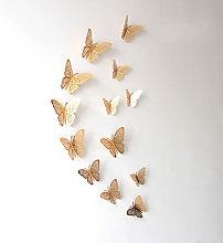 Adesivo murale farfalla 3D fiore, oro, 12 pezzi