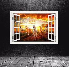 Adesivo murale finestra ippodromo a colori