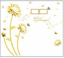 Adesivo murale fiore dorato