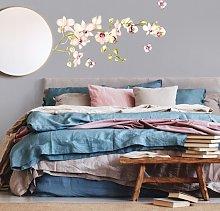 Adesivo murale fiori - Ramo di orchidea rosa con