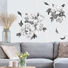 Adesivo murale fiori - Set di peonie bianco e nero