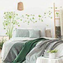Adesivo murale fiori - Tre soffioni con farfalle