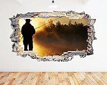 Adesivo murale Fisherman Lake Sunset Fog Smash