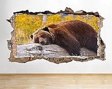 Adesivo murale Forest Rock Animal Sleeping