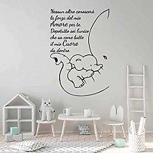 Adesivo murale Frase con Elefantino-decorazione