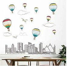 Adesivo murale fumetto città palloncino per