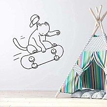 Adesivo murale gatto pattinaggio decalcomania