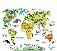 Adesivo Murale In Vinile Con Mappa Del Mondo Di