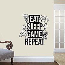 Adesivo Murale In Vinile Eat Sleep Repeat Video