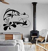 Adesivo murale in vinile rimovibile canna da pesca
