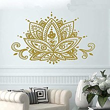 Adesivo murale mandala dorata yoga loto adesivo