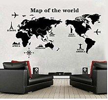 Adesivo Murale Mappa Mondo Nero Casa Ufficio