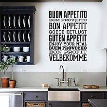 Adesivo Murale Murale Cucina Cibo Proverbio Art