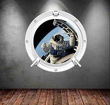 Adesivo murale Oblò Astronauta Terra Luna Marte
